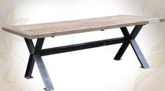 Grande table de salle à manger en bois massif et métal style industriel