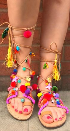 Bohemian Pom Pom Sandals Elyseum by SandalsofLove on Etsy
