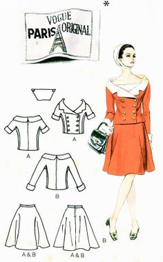 1960s Molyneaux Dress Pattern Vogue Paris Original 1644 Vintage Sewing Pattern Two Pc Dress Portrait Neckline Double Breasted Fitted Jacket and Wide Flared Skirt Very Striking Style Bust 34