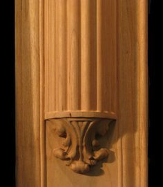 Carved wood column pilaster - Acanthus Capital with Reeded Insert and Base Wood Columns, Acanthus, Carved Wood, Wood Carving, Teak, Door Handles, Wall Lights, Woodworking, Base