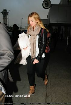 Blake Lively wearing David Lerner Signature Basic Leggings CO-OP Barneys New York Studded Buckle Ankle Boots in Brown. Blake Lively LAX Airport September 18 2009.