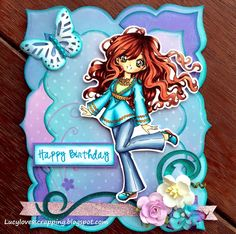 Lucy loves scrapping: make it crafty digi stamp handmade hand colored girly shaped card Shaped Cards, Stamp Making, Digital Stamps, Cute Cards, Copic, Hand Coloring, I Card, Handmade Cards, Envy