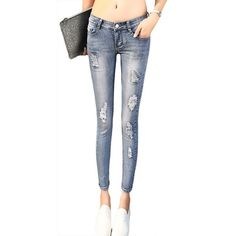 Women Jeans Ankle-length Pencil Pants, Hole Ripped Skinny Mid-waist – Ashley`s Loft