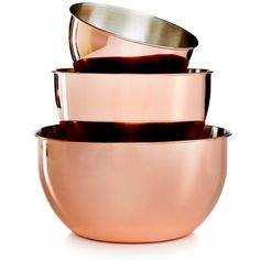 Martha Stewart Collection 3-Pc. Copper-Plated Mixing Bowl Set, ($40) ❤ liked on Polyvore featuring home, kitchen & dining, kitchen gadgets & tools, home decor, kitchen, copper, storage bowl, copper bowl and martha stewart
