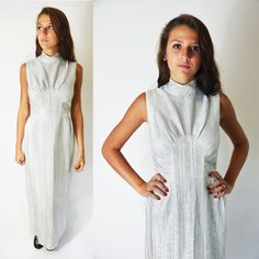 Items similar to Silver Gown on Etsy Silver Gown, Ceremony Dresses, 1960s, High Neck Dress, Gowns, Trending Outfits, Unique, Clothes, Vintage