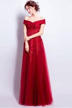 Burgundy Prom Dresses Off-the-shoulder Floor-length Tulle Prom Dress/Evening Dress
