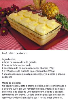 Pavê pratico de abacaxi Trifle Desserts, Pasta, Parfait, Waffles, Sweet Treats, Recipies, Food And Drink, Sweets, Panna Cotta