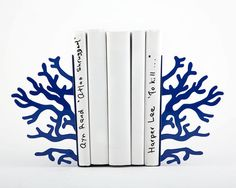 Metal Bookends - Corals Dark Blue edition - unique and functional decor for a modern home // nursery decor // FREE WORLDWIDE SHIPPING //