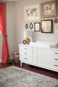 A Lovely, Calming Nursery. This is a great redo of a mid-century modern dresser. Here are 33 adorable nursery ideas for you! Super cute baby boy nursery room ideas - I LOVE a rustic nursery - for boys OR for girls! Nursery Room, Girl Nursery, Girl Room, Nursery Neutral, Calming Nursery, Nursery Modern, Rustic Nursery, Vintage Nursery, Mid Century Modern Dresser