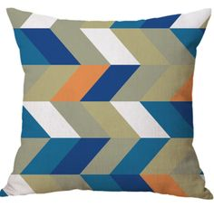 Colorful Geometric Design Linen Cotton Office Indoor Use Cushion Covers Digital Printed