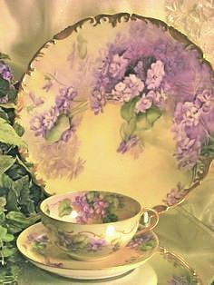 French African Purple Violets Tea Cup and Saucer, Antique Limoges, Hand Painted Vintage Victorian Floral Art c. Teapots And Cups, China Tea Cups, My Cup Of Tea, China Painting, All Things Purple, China Patterns, Vintage China, Vintage Dishes, Antique China