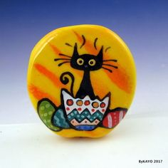"""THE EASTER KITTY"" byKAYO a Handmade CAT Lampwork Art Glass Focal Bead SRA #Lampwork"