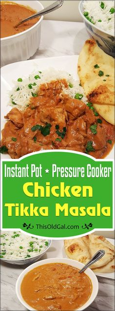 Pressure Cooker Chicken Tikka Masala with Butter Rice & Peas, made with a rich and delicious creamy tomato sauce, is Indian Comfort Food at its best. via @thisoldgalcooks