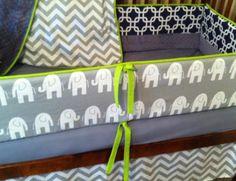 Baby Crib Bedding Chevron Elephants by Ziggetyzag on Etsy, $329.00