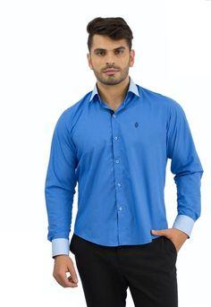 Camisa Social Masculina Azul Céu - Rellur Camisaria