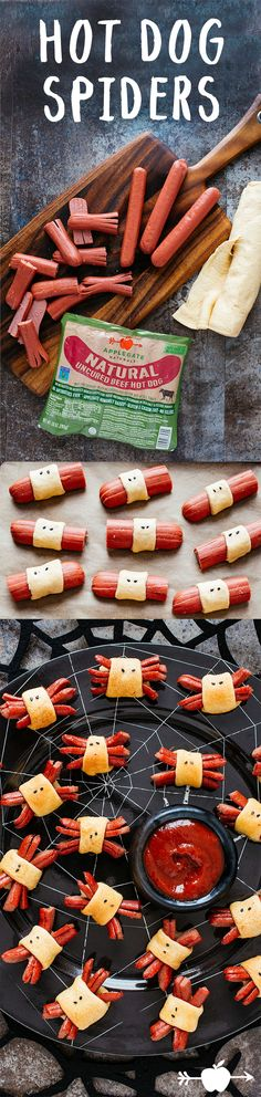 Recipes - Hot Dog Spiders - Applegate These are the tastiest creepy crawlies we know! Recetas Halloween, Theme Halloween, Halloween Dinner, Halloween Goodies, Halloween Food For Party, Halloween Birthday, Halloween Treats, Halloween Stuff, Halloween Diy