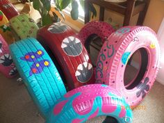 Would love to recycle, paint and use for backyard fun/décor. Backyard Play, Backyard For Kids, Reuse Old Tires, Recycled Tires, Tire Playground, Swing Painting, Painted Tires, Minnie Mouse Toys, Recycled Garden Art