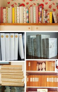 Book inspiration. Fabric, paper, wrapping paper, newspaper, old maps...