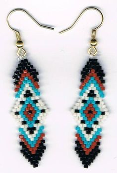 Items similar to Hand Beaded Native American design earrings on Etsy Beaded Earrings Patterns, Seed Bead Patterns, Beading Patterns, Bracelet Patterns, Seed Bead Jewelry, Seed Bead Earrings, Beaded Jewelry, Seed Beads, Beaded Necklace