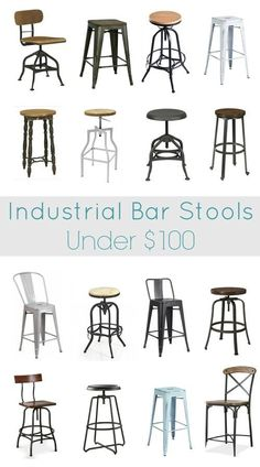 The best industrial bar stools under $100. 18 of the most stylish industrial bar stools at the cheapest prices. Find the perfect stools to transform your own kitchen.