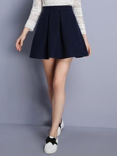 Shop kan·f purplish blue wool blend flare skirt here, find your skirts at dezzal, huge selection and best quality. A Line Mini Skirt, Mini Skirts, Skater Skirts, Fashion Now, Fashion Dresses, Pretty Outfits, Cool Outfits, Flare Skirt, Dress To Impress