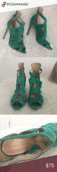 """Zara suede heels Beautiful emerald suede heels in excellent pre loved condition. 4"""" heel Zara Shoes Heels"""