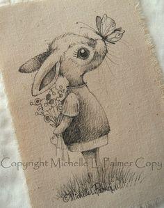 Original Pen Ink Fabric Illustration Quilt Label by Michelle Palmer Bunny Rabbit Butterfly kisses April 2014 ♥