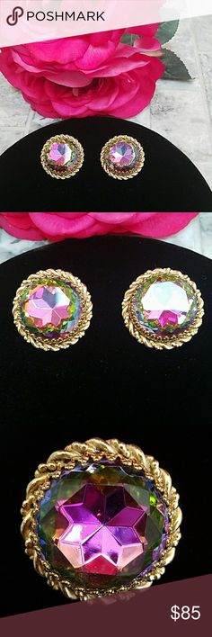 Authentic Elsa Schiaparelli Earings Stunning Elsa Schiaparelli earrings from the 1950s. Vintage rainbow cut crystal shows beautiful colors see each picture four different Hues of purple and pink green and the reflection of the gold into the stone itself. Each earring measures / 1.25 inches in diameter. These vintage earrings have a little bit of wear on the back where gold has rubbed off (priced accordingly).  In excellent vintage condition. Compare to other listings for Price…