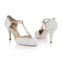 Rachel Simpson Orla Ivory Leather Vintage Designer Weding Shoes