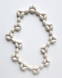 Kiff Slemmons, United States, Necklace - Gorditos in Threes, cotton, agave, handmade paper