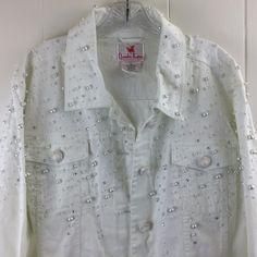Womens Plus Size 2X Quacker Factory Jacket White Cotton Stretch Denim Beaded New #QuackerFactory #JeanJacket