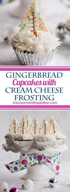 Delicious, festive Gingerbread Cupcakes with Cream Cheese Frosting and cute pretzel Christmas tree toppers on a bed of fluffy coconut!