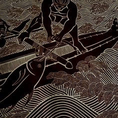 Ahi wood block print - by Dietrich Varez