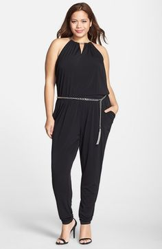 MICHAEL Michael Kors Chain Neck Belted Jersey Jumpsuit (Plus Size) available at #Nordstrom