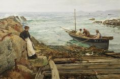 Charles Napier Hemy(British A Seamaiden Great Paintings, Seascape Paintings, Charles Napier, Sea Pictures, Oil Painting Techniques, Boat Art, Maritime Museum, Traditional Paintings, Ocean Art