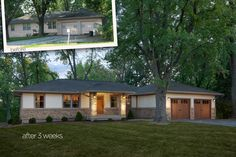 A ranch style home transformed by adding new windows, siding and stone.