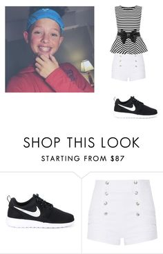 """Day with Jacob <3"" by brandy-carringer ❤ liked on Polyvore featuring NIKE, Pierre Balmain and WearAll"