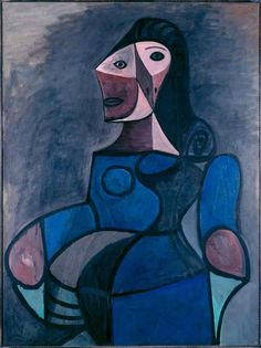 Pablo Picasso Woman in blue(also known as Femme en bleu) - The Largest Art reproductions Center In Our website. Kunst Picasso, Art Picasso, Picasso Blue, Picasso Drawing, Picasso Paintings, Great Paintings, Portraits Cubistes, Georges Braque, Post Impressionism