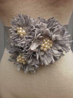 bridal sash for wedding handmade flowers grey color by denizy03, $75.00