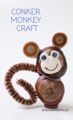 conker monkey craft Valentine Crafts For Kids, Fall Crafts For Kids, Projects For Kids, Kids Crafts, Art Projects, Autumn Crafts, Nature Crafts, Art Lessons For Kids, Art For Kids