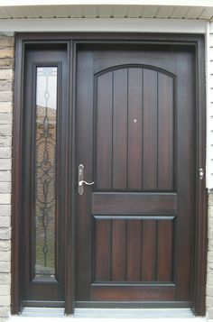 Classic front Door with one panel sidelight 14  Front Doors and