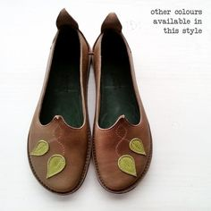 Ladies comfort shoes Handmade Leather Woodland leaf by Fairysteps