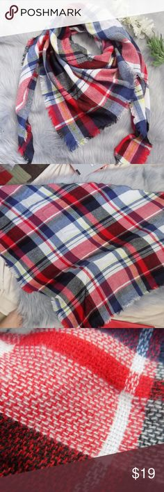 Oversize Red and Blue Plaid Scarf Brand New. Made of Acrylic, Cashmere, Wool Triangle Shape 92 x 54 x 54 Very soft and not itchy. Not to bulky.  Price firm unless bundled. Accessories Scarves & Wraps