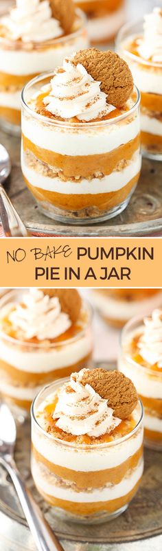 Bake Pumpkin Pie in a Jar No Bake Pumpkin Pie in a Jar - layers of marshmallow mousse, graham cracker and gingersnaps, and pumpkin!No Bake Pumpkin Pie in a Jar - layers of marshmallow mousse, graham cracker and gingersnaps, and pumpkin! No Bake Pumpkin Pie, Homemade Pumpkin Pie, Pumpkin Pie Recipes, Baked Pumpkin, Pumpkin Dessert, Fall Recipes, Pumpkin Spice, Holiday Recipes, Pumpkin Pumpkin