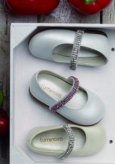 Girls Formal Pearl Leather Shoes with Swarovski Strap | Junior Couture