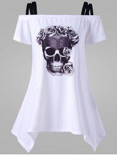 GET $50 NOW | Join RoseGal: Get YOUR $50 NOW!http://m.rosegal.com/t-shirts/off-the-shoulder-skull-asymmetrical-1130304.html?seid=v5sn2q7hn5a939f40lbb54c1t3rg1130304