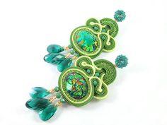 Boucles d'oreilles en soutache vert boucles par PerleDintorni