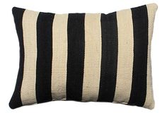 Stripe 14x20 Wool-Blended Pillow, Black on OneKingsLane.com
