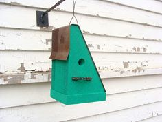 Birdhouse with Recycled Bike Chain Perch Rusty by baconsquarefarm, $25.00