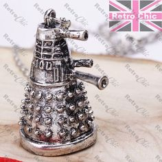 3D Darlek Pendant Necklace Antique Silver Fashion Quirky Dr Who Fan Long Chain #ebay #Fashion